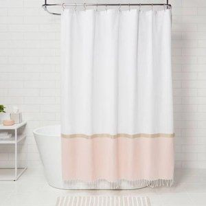 Project 62 Colorblock Woven Shower Curtain Gold